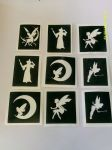 Fairy themed stencils  (mixed) for glitter tattoos / airbrush / face painting  fairies / Tinkerbell  fairy godmother  fairy on moon